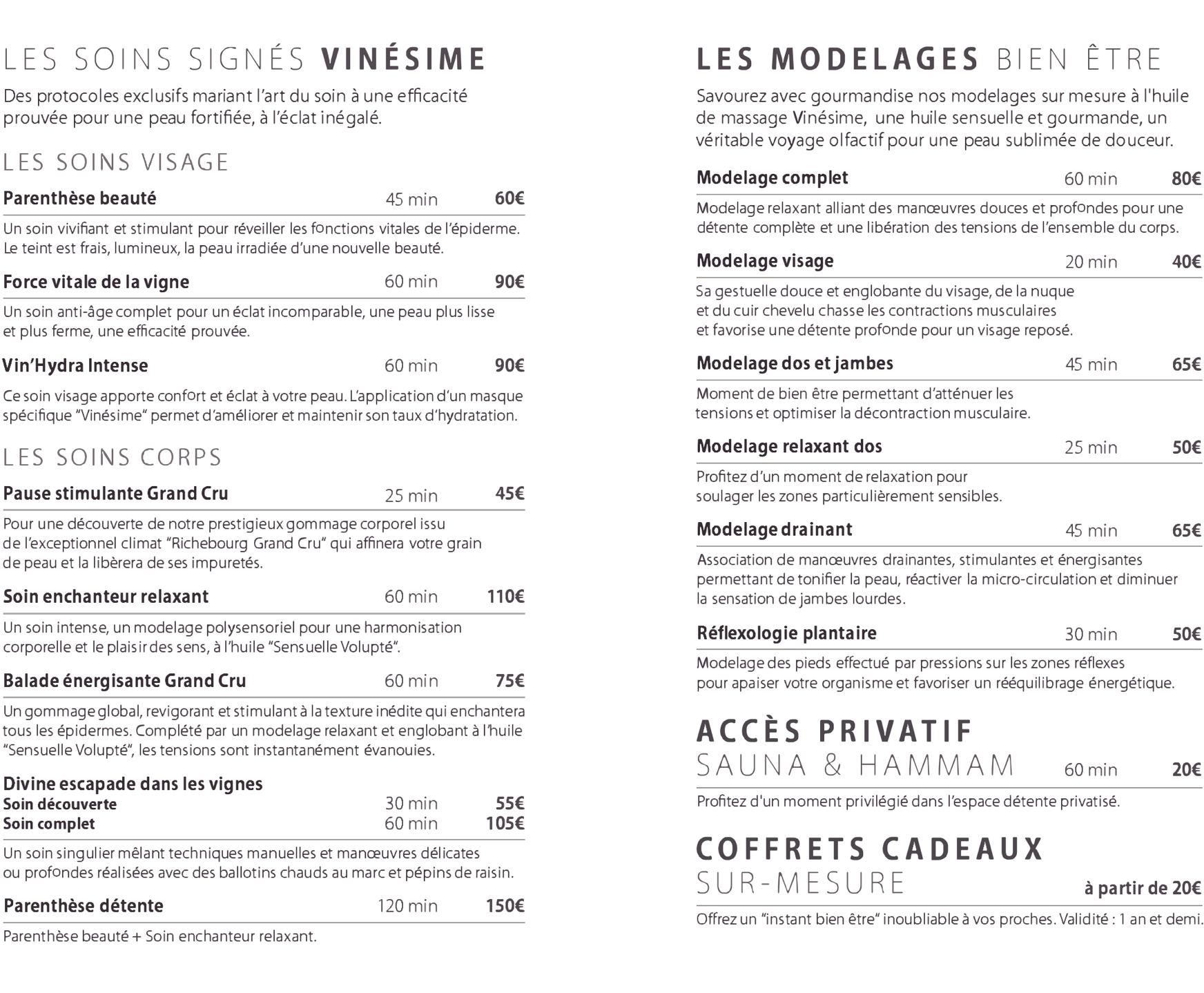 Carte des Soins Spa Bourgogne Saulieu